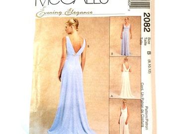 McCalls 2082, Evening Gown Pattern, Wedding Gown, Bridesmaids' Dress, Evening Elegance, Prom Dress, Size 14-18, Uncut Pattern,