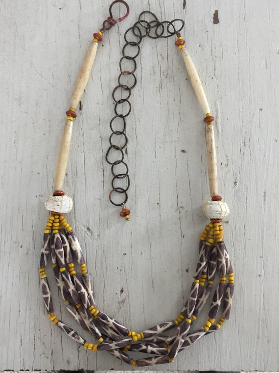 BE BOLD SALE! Batik. 4 strands of the coolest batik look horn beads dotted with yellow trade beads. Handmade and ooak by ladeDAH!