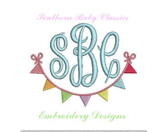 Pennant Flag Swag Bow Frame Design File for Embroidery Machine Monogram Instant Download Birthday