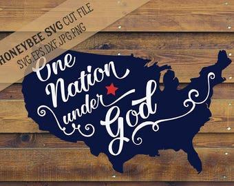 One Nation Under God Map svg Patriotic svg America svg July 4th decor svg 4th of July svg Silhouette svg Cricut svg eps dxf jpg Country svg