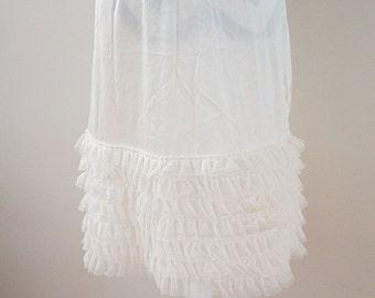 Off White Tulle Layered Ruffle Skirt/Dress Extender, Slip Lengthener