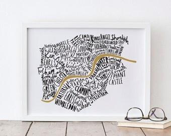 """8x10"""" London print - London map - London poster - London Art - map print"""