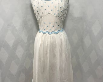 Vintage 1950s Rogers Embroidered Blue Polka Dot Peignoir Nightgown Size 36