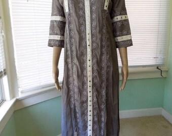 Womens TUNIC Maxi/Vintage Bollywood PAKISTANI Tunic/Maxi With Mirror/Boho Hippie Dress/Festival Maxi Dress/NOS/70s Vintage Tunic Dress/Small