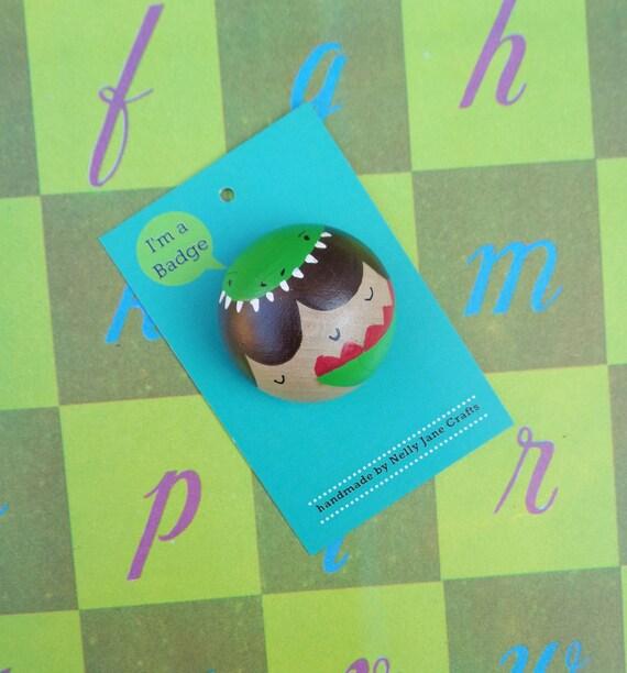 Dinosaur Girl Badge / T-Rex Pin / Kawaii Pin Badge / Brooch / Badge / Button / Bridesmaid Gift / Momiji Style Pin Badge
