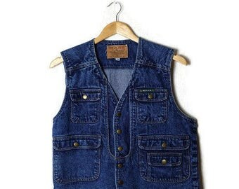 Vintage Snap Button Denim Vest from 1980's*