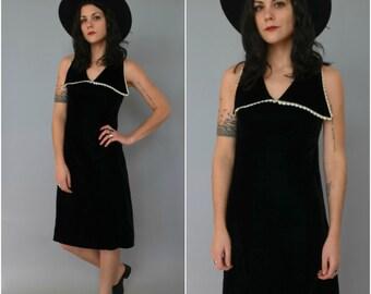 1960s black velvet lace trimmed sleeveless dress