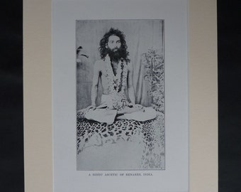 1930s Antique Indian Religious Print of a Hindu Ascetic, Meditation Wall Art, Benares Gift, Available Framed, Faith Art, Spiritual Picture