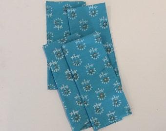 Set of 4 Blue Indian Block Printed Napkins