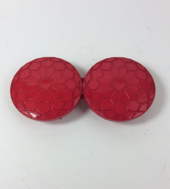 Vintage 80's style red button belt buckle, plastic red belt buckle, two piece belt buckle, vintage belt buckle, retro belt buckle, buckles