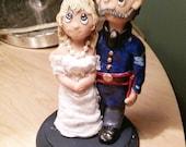 Cosplay Civil war reenactor Bride and Groom polymer clay wedding cake Topper , Custom made polymer clay
