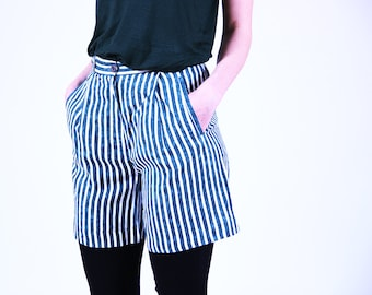 Green striped shorts, high waisted women shorts, 36, S, small cotton shorts, white, green, 90s