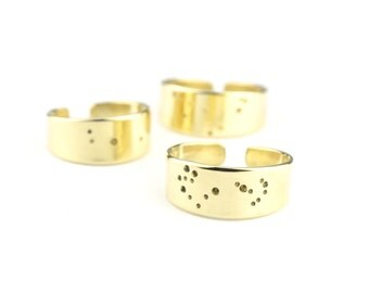 Leo Gift! Zodiac Constellation Rings | Punched Jeweler's Brass | Pisces Ring | Nu-gold Wide Bands