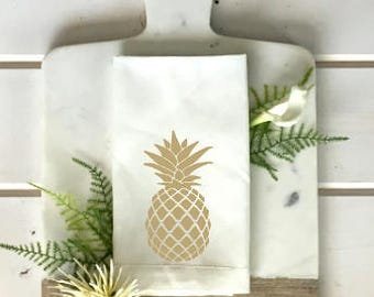 Pineapple Napkins Set Tropical linen napkin white and gold napkin tropical Decor Outdoor Entertaining wedding gift hostess gift