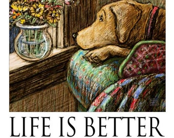 Life is Better When We're Together - Yellow Lab Looking at Flowers on Window Sill