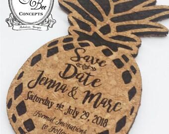Save the Date Pineapple Coaster -Cork Coasters -Laser Engraved -Wedding Favor -Natural Cork - Set of 12 -Envelopes Available -FREE ENGRAVING