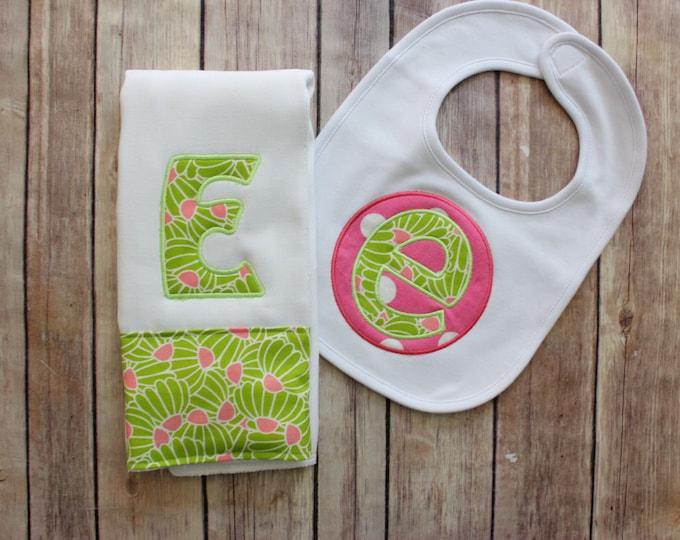 Monogrammed Baby Girl Burp Cloth Set, Baby Shower Gift, New Baby Girl Gift, Burp Cloth Bib Set, Applique Baby Gift, Personalized Baby Gift