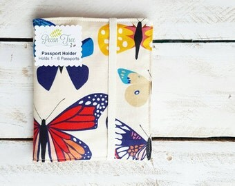 Family of 6 Passport Case Wallet, Passport Holder for up to 6 Six Passports, Butterfly Box in Bright by Lizzy House