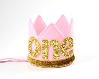 First Birthday Crown    Baby Girl Birthday Hat    Pink and Gold Cake Smash Crown    Six Month Birthday Crown    Pink + Gold