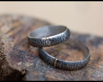 His and hers matching wedding bands: Wedding bands set - Nature wedding rings - Silver wedding band - Rustic wedding band - Woodland wedding