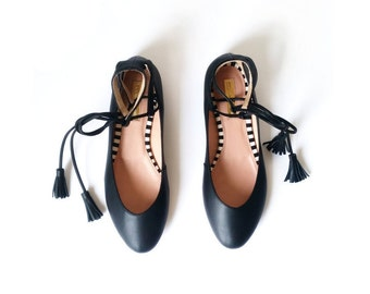 BLACK BALLET FLATS  - Black Leather Ballerinas - Genuine Leather - Mina Shoes Mexico - Style Name: NeoMerlina