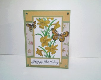 Happy Birthday - Handmade Greeting Card - Daffodil and Butterflies