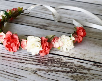 ON SALE Handcrafted Coral and Ivory Flower Crown - Coral Wedding Accessory - Ivory Hair Wreath - Bright Coral Headband - Coral Bridesmaid -