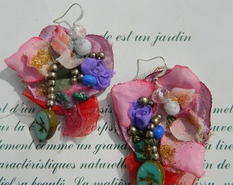 Earrings multicoloured petals, swallows and poppies, embroidered and  beaded