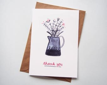 Thank You Card Flower Bouquet A5 Mother's Day