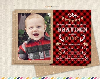 Lumberjack first birthday Flannel Plaid first birthday Invitation