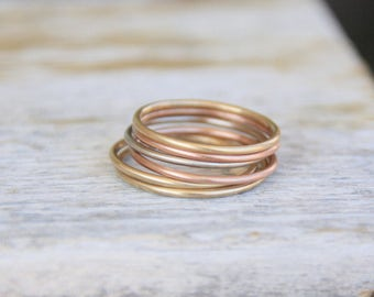 round gold stackable ring // solid 14k gold stacking ring // yellow gold white gold rose gold // eco friendly recycled gold // gift for her