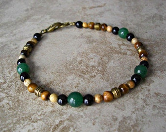 Green Aventurine, Black Onyx, Tiger Eye, Picture Jasper, Antique Brass Accents Men's Bracelet, Mens Jewelry, Men's gift, Gift for him