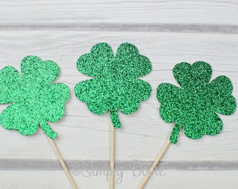 Glitter Shamrock Cupcake Topper Picks - St Patrick's Birthday, Wedding Decorations, Party Decorations