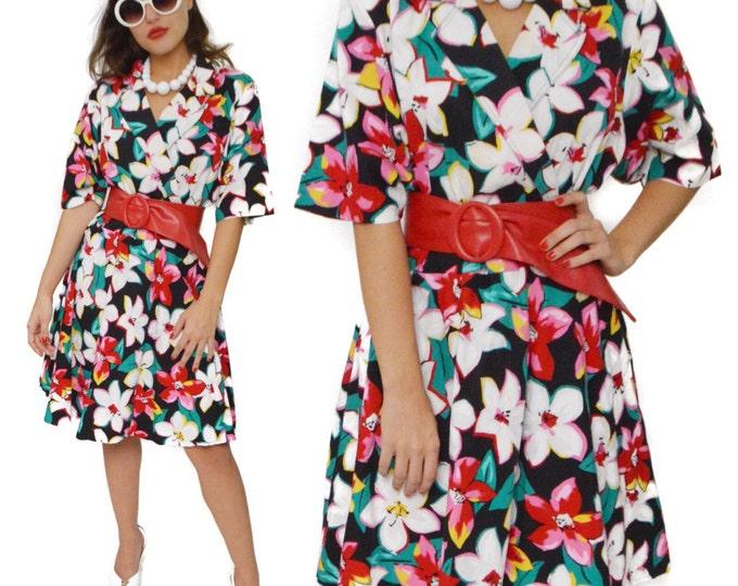 Vintage 90s Sabino Floral Half Shirt Dress