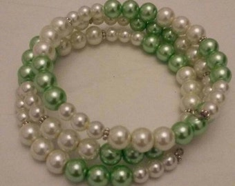 Mint Green and White Round Glass Pearls Memory Wire Bracelet