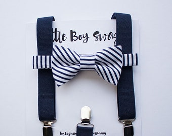 Bow Tie And Suspenders For Boys And Adults, Navy Wedding, Boys Bow Tie, Ring Bearer Outfit, Baby Boy Bow Tie, Wedding Gift, Boys Clothes