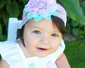 Lavender, pink and aqua headband, multi color flower on a super wide lace headband, girls headband hair accessory