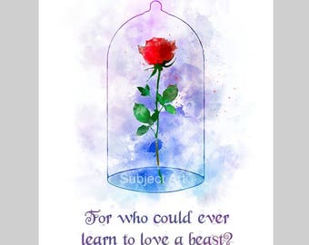 Enchanted Rose Quote ART PRINT illustration, Beauty and the Beast, Disney, Wall Art, Home Decor