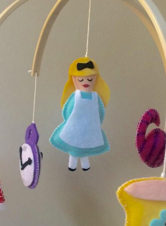 Baby mobile baby crib mobile alice in wonderland princess for Princess crib mobile