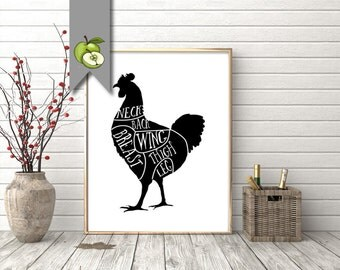 chicken, Butcher Diagram, kitchen Printable, Kitchen Print, Butcher Chart, Kitchen Art, Butcher Diagram, Butcher Prints, Cuts of Meat, BC1