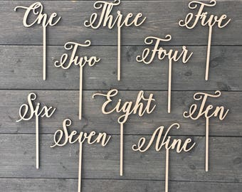 Wood Table Numbers with Sticks, Style 2, Wedding Table Numbers, Wood Numbers, Escort Cards, Table Decoration, Centerpieces