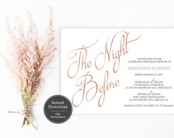 Editable Rose Gold Rehearsal Dinner Invitation Template | Printable The Night Before Invitation | Instant Download | Elegant | Copper | PDF