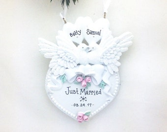 FREE SHIPPING Doves with Hearts Personalized Christmas Ornament / Wedding / Personalized Ornament / First Christmas /  Elegant Ornament