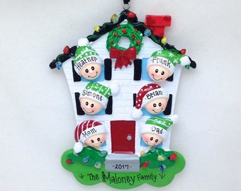 FREE SHIPPING 6 Family Member Personalized Christmas Ornament / Personalized Ornament / Family Ornament / 6 Family Members  Happy Home