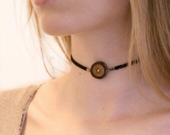 Simple Black Choker, Wood Slice Choker, Small Choker, Bohemian Choker, Boho Wood Choker, Wood Jewelry, Wood Slice Necklace, Wooden Choker