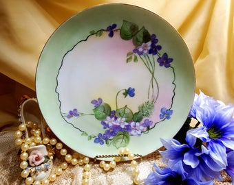 "Antique circa 1894-1931, Haviland France, Cabinet Plate 1O"", Signed by Artist  Emma B Gilby"