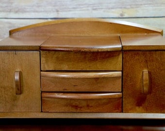 Wood Curved Front Jewelry Dresser Organizer Box Unique