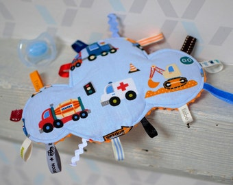 Doudou labels orange cloud on the road - ambulance, truck top, backhoe - birth gift - doudou child 3-12 months