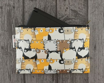 Staring Cats Cute Patterned Nintendo New 3DS XL/ PS Vita / Kindle Zip Case - suitable for gadgets, pens and pencils, tools and cosmetics