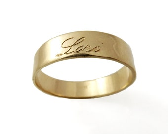Gold name ring. name ring. Unisex ring. 5mm name ring. Gold ring. word gold ring. Personalized ring. Personalized gold ring. (gfe6417- 1748)